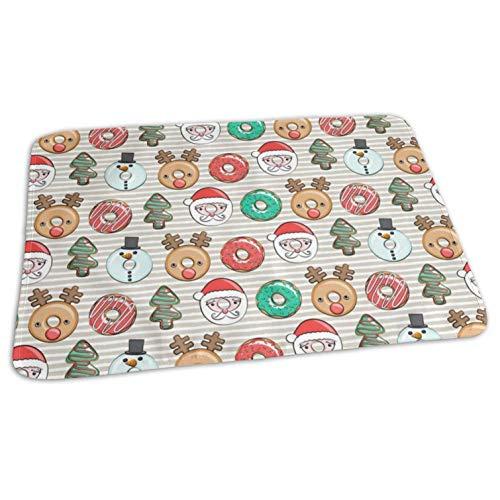 Christmas Donuts Santa, Christmas Tree, Reindeer Beige Stripes CBS_777,Portable,Waterproof Urine Mat (275 x 19.7 Inch), 70 x 50 cm) - Baby Reusable Diaper Waterproof Changing Pad Portable (Harness Velvet Red Santa)