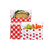 Lunchskins Reusable 2-Pack Velcro Bag Set, Red Picnic (1 Sandwich + 1 Snack)