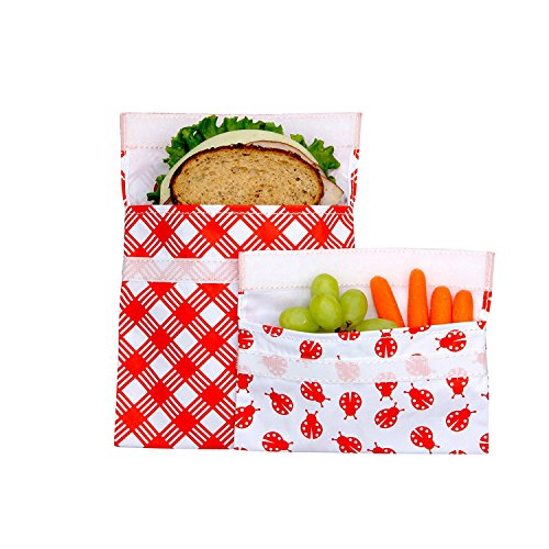 Lunchskins Reusable 2-Pack Velcro Bag Set, Red Picnic (1 Sandwich + 1 Snack) by LunchSkins