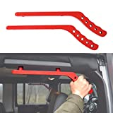 ICARS 2007-2018 JK JKU Jeep Wrangler Aluminum Grab Handles for Unlimited Rubicon Sahara Accessories(Pair) (Red, Rear)