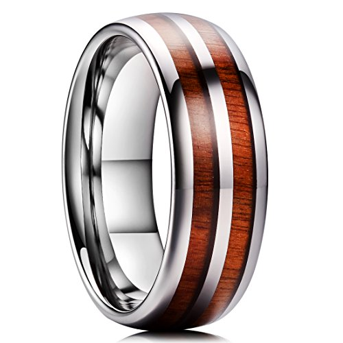King Will Nature 8mm Mens Tungsten Carbide Ring Domed Double Rosewood Wood Inlay Polished Finish Comfort Fit10