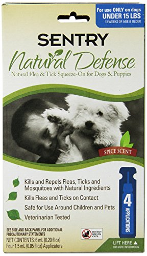 (Sentry 4 Count Natural Defense Flea and Tick Squeeze-On for Dogs Under 15-Pound)