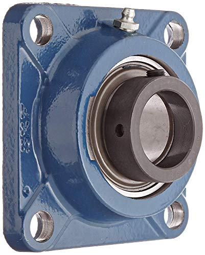 SKF F4B 108-FM Ball Bearing Flange Unit, 4 Bolts, Eccentric Collar, Regreasable, Contact Seal, Cast Iron, 1-1/2
