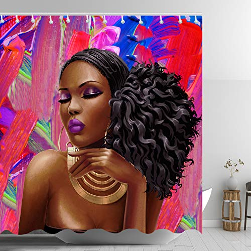 ABxinyoule African American Shower Curtain Afro Girl Black Hair Woman Fashion Makeup Bathroom Curtains Purple