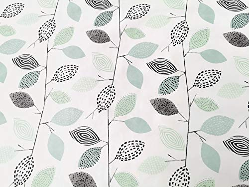 Jolee Fabrics - Mantel de Vinilo de PVC, diseno Floral, Color Verde y Negro, Mint, Grey, Black, 140cm Diameter Round