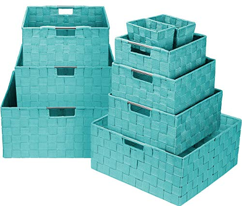 Sorbus Storage Box Woven Basket Bin Container Tote Cube Organizer Set Stackable Storage Basket Woven Strap Shelf Organizer Built-in Carry Handles (Aqua)