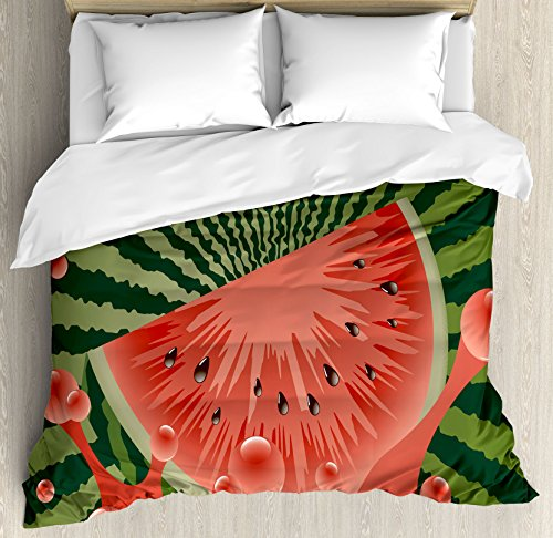 Summer Duvet Cover Set by Ambesonne, Beach Fruit Vegetarian Garden Health Life Hot Season Image, 3 Piece Bedding Set with Pillow Shams, King Size, Olive Green Dark Coral Hunter Green by Ambesonne (Image #2)