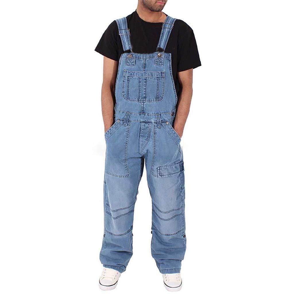 beetleNew Mens Shorts Salopette da Uomo con Pettorina e Bretelle vestibilit/à Larga Pantaloni Casual da Jogging con Tasche Jeans con Bottoni