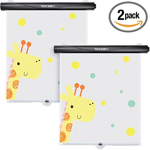 Car Roller Sunshade Deluxe Set of 2 Kids Giraffe Retractable Car Window Sunshade Black Roller for Neat Look when not in use Blocks Sun & Keeps Car Cool
