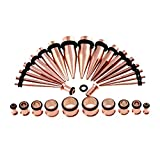 Xpircn Steel Ear Stretching Taper and Tunnel Rose Gold Taper Kit - 36 Pieces Set 14G to 00G Gauge
