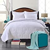 CXYY 100% Cotton Floral White Quilted Bedspread set,King Size , full