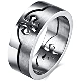 Mens Wedding Bands Classic 8MM Titanium Stainless Steel Cross Pattern Religious Promise Rings Matter Polished Finish Comfort Fit Size 9
