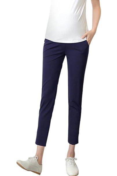 KINDOYO Mujeres Verano Nuevo Casual Maternidad Pantalones Color sólido Oficina de Trabajo Over Bump Pantalones de