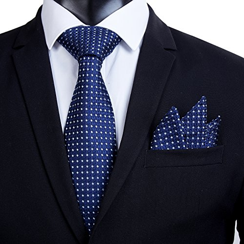 100% Silk Ties Necktie Set for Men Handmade Tie and Pocket Square Set with Gift Box by WITZROYS