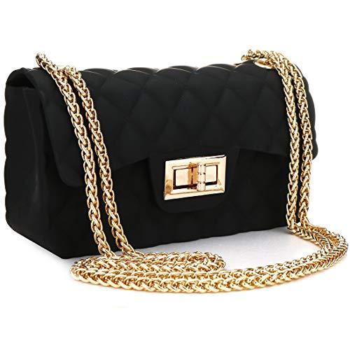 Women Fashion Jelly Shoulder Bag Mini Clutch Handbag Crossbody Bags with Chain Strap (Black)