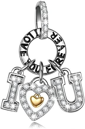 NINAQUEEN® Charm - Ti Amo Pendente Argento Sterling 925 Zirconia, Regalo per Lei, con Confezione di Scatola Regalo, per Regali di Compleanno Anniversario