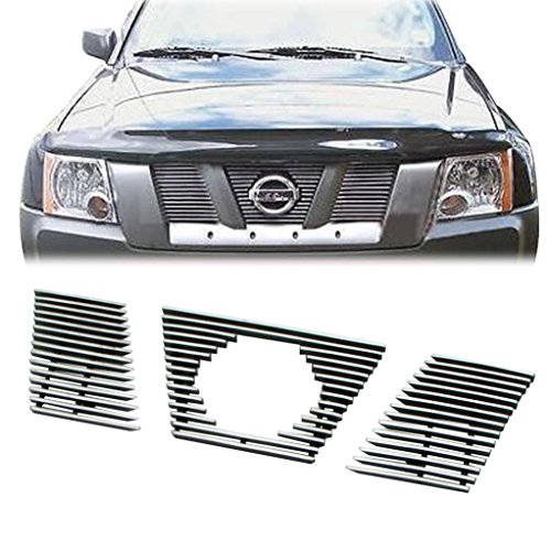 EAG Billet Grille Overlay Aluminum Polished 4mm Horizontal With Logo Open for 05-08 Nissan Xterra ()