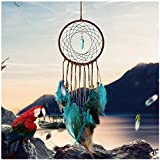 Lotus.flower Dream Catchers, Handmade Dream Catcher Feathers Decoration for Car Wall Hanging Room Home Decor,Hanging Decoration Ornament Gift (Multicolor)
