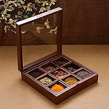 First choice gallery Masala Box/Dabba/Hand Crafted with Lid   1.5 L Wood Spice Container nbsp; nbsp; Brown  with Spoon