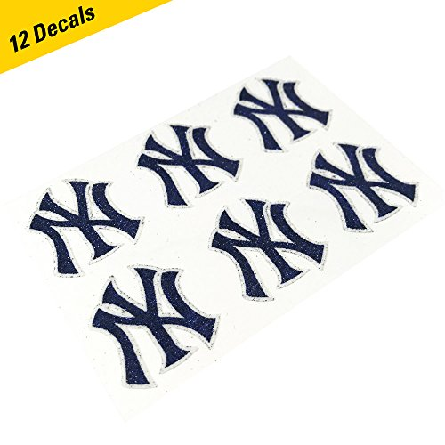 New York Yankees MLB Glitter Cheek Decals, Perfect for Game Day and Tailgate (12 Decals)