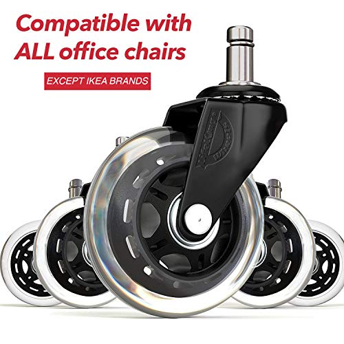 (Office Chair Wheels Replacement Rubber Chair casters for Hardwood Floors and Carpet, Set of 5, Heavy Duty Office Chair stem casters for Chairs to Replace Chair mats - Universal)