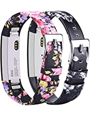 Tobfit For Fitbit Alta Strap Alta HR Leather Straps (2 Pack), Adjustable Replacement Straps for Fitbit Alta and Fitbit Alta HR (*Grey flower+Black)