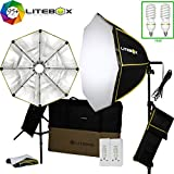 LITEBOX Photography Softbox Lighting/Video Lighting Kit in a Box (NEW) - INCLUDES Pair of 26'' Portable Octagon Softbox Lights, 2 Professional Bulbs, 2 Stands, 2 Diffusers + FREE Travel Bag!