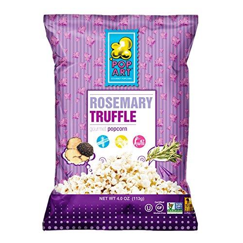 Pop Art Snacks - Rosemary Truffle (4oz bag) - Vegan Pre Cooked Gourmet Popcorn - Gluten Free Healthy Popcorns Snacks for Kids and Adults