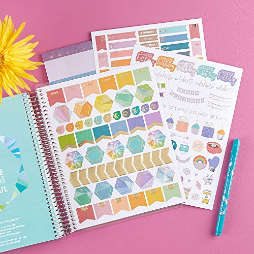 Erin Condren 12 - Month 2020 Coiled Life Planner 7x9 (January - December 2020) - Watercolor Blooms, Horizontal(Colorful Layout). Daily Agenda with Monthly Calendar Tabs