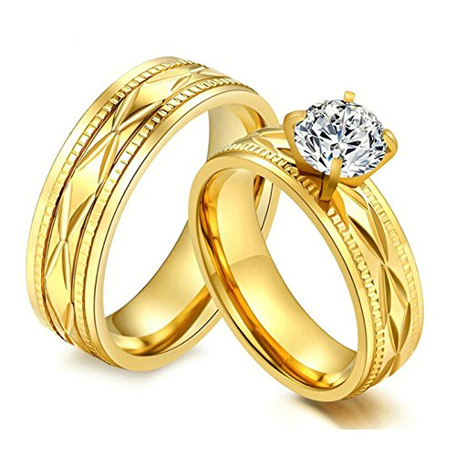 EoCot 2 Pcs Matching Band Stainless Steel Couple Ring Promise Wedding Ring 6MM Cubic Zirconia Engraved Gold Rings Women 7 & Men 9