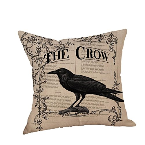 Cute Happy Halloween Pictures - Bokeley Modern Vintage Halloween Cotton Linen Square Decorative Printed Throw Pillow Case Cushion Cover Crow on Branch (K)