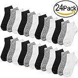 Falari 24 Pairs Girl Toddler Kids Cotton Socks (6-8 Years, 24-Pack Black, Grey, White)