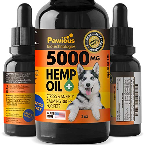 Hemp Oil for Dogs Cats - 5000mg - Joint Pain and Anxiety Relief, Arthritis, Seizures - Vitamins A, E - Omega 3, 6 & 9-100% Organic Calming Drops