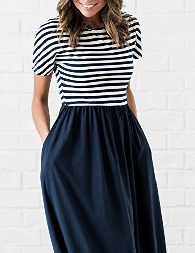Sleeve Women's for 3 Tunic Elastic Maxi Stripe Dress Neck Printed Blue Casual Women 4 Waist Floral Scoop Dress Dress Z7xrwqOZ