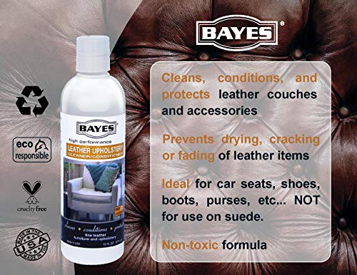Bayes Premium High Performance Non Toxic Leather Upholstery Cleaner and Conditioner - 16 oz - Prevents Drying, Cracking or Fading of Leather Couches, Car Seats, Shoes, Purses, Pack of 6 by Bayes (Image #6)