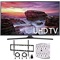 Samsung UN65MU6290FXZA Flat 64.5 LED 4K UHD 6 Series Smart TV (2017) + Flat Wall Mount Kit Ultimate Bundle for 45-90 inch TVs + 750 Joule 6-Outlet Surge Adapter with Night Light