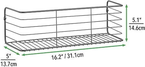kompaktes Metallregal breite Ablage zur Wandmontage aus Metalldraht mDesign 2er-Set Wandregal f/ür Bad K/üche Flur oder Waschk/üche dunkelgrau