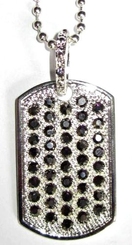 Hip Hop Iced Out Diamond Silver Dog Tag Pendant Chain Necklace (Black Stones)