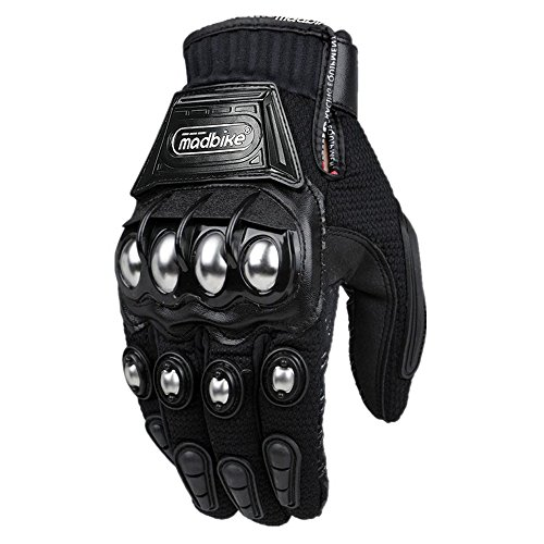 (ILM Alloy Steel Knuckle Motorcycle Motorbike Powersports Racing Tactical Paintball Gloves (L, BLACK) )