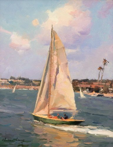 Paint by Numbers 16 x 20 inch Canvas Art Kit DIY Oil Painting for Kids/Students/Adults Beginner, Sailboat