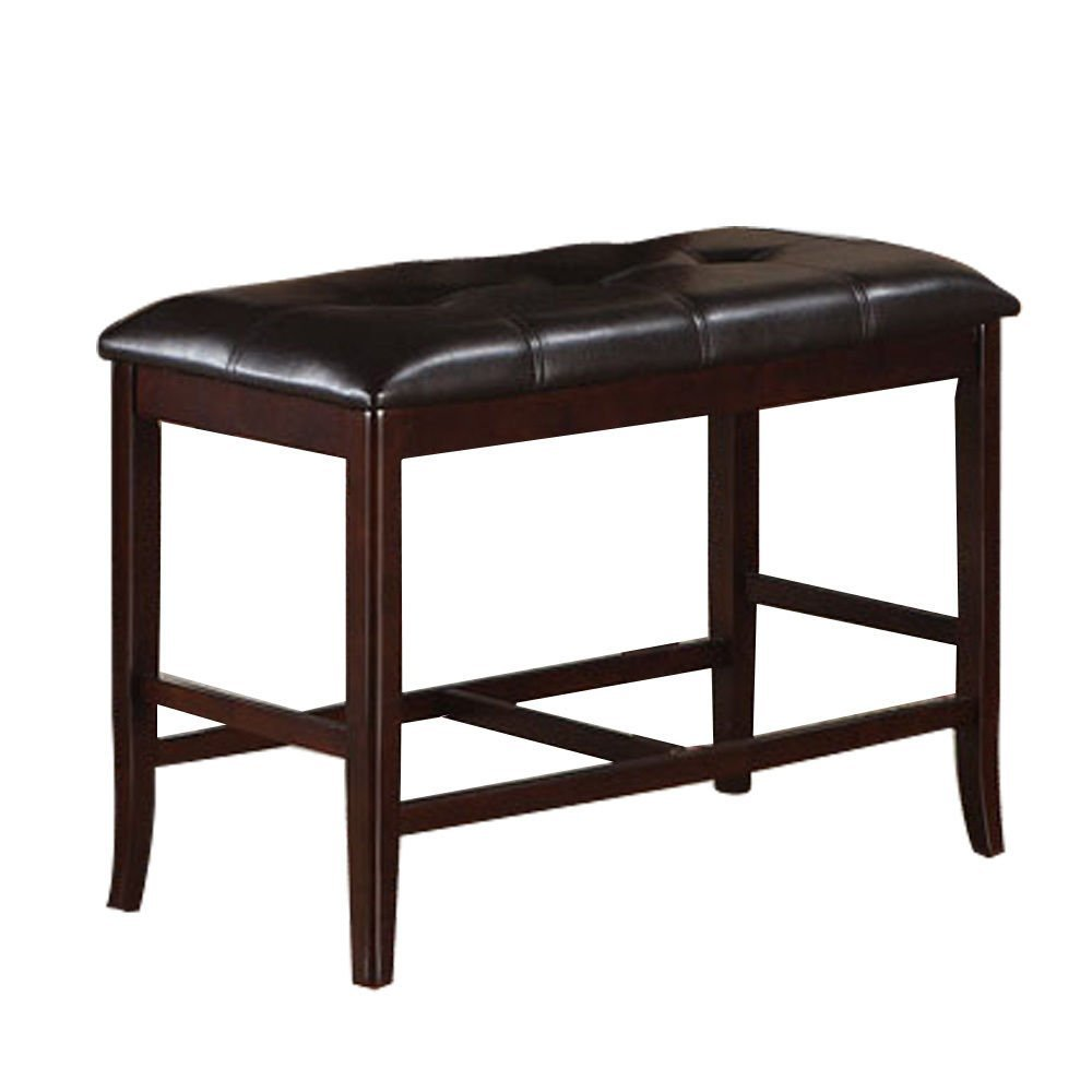 Poundex 1Perfect Choice Contemporary Bold Style Dining High Bench with Faux Leather Seat, Dark Brown Finish