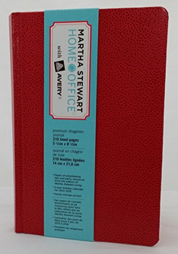Martha Stewart Home with Avery Office Premium Shagreen Journal Red 5 1/2 in X 8 1/2 In