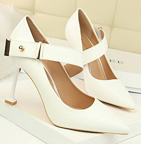 De Travail Mode Cheville Escarpins Femme Bride Chaussures Blanc Aisun H7XwqA