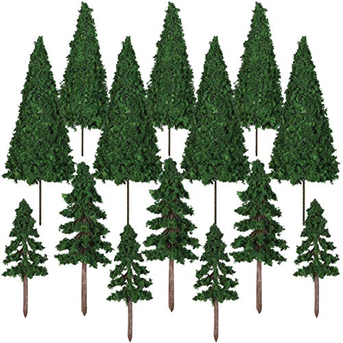 VOSAREA 16 Pieces Mixed Model Trees 3.5-5.5 inch Train Trees Railroad Scenery Diorama Tree Miniature Green Scenery Landscape Model Cedar Trees Ho Scale Trees Architecture Trees with No Bases