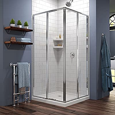 DreamLine Cornerview 36 in. D x 36 in. W Kit, with Corner Sliding Shower Enclosure in Chrome and White Acrylic Base from DreamLine