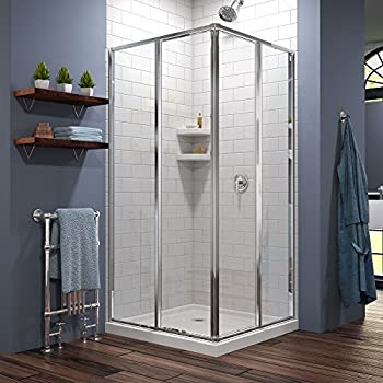 DreamLine Cornerview 36 in. D x 36 in. W Kit, with Corner Sliding Shower Enclosure in Chrome and White Acrylic Base