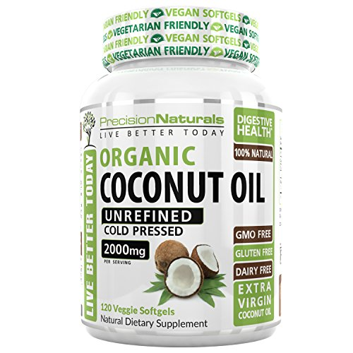 Vegetarian Softgels Organic Coconut Oil Capsules/Pills 2000mg/Serving Virgin Cold Pressed Non GMO for Weight Loss, Extra Hair Growth and Healthy Skin. Source Unrefined Pure Coconut Oil Review