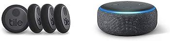 4-Pack Tile Sticker Bluetooth Tracker (2020)  + Echo Dot (3rd Gen)