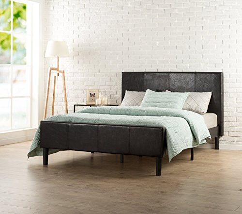 (Zinus Deluxe Faux Leather Upholstered Platform Bed with Footboard and Wooden Slats, Queen, Espresso)