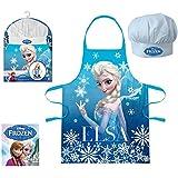 Réf335 LIC.48 - Coffret Petite Cuisinière Disney Frozen - Tablier + Toque La Reine des Neiges - Cadeau Noël Enfant 3 à 8 Ans